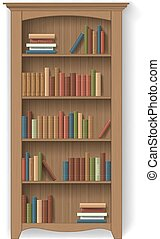 wooden bookcase isolated with books