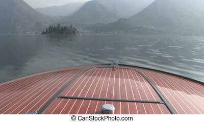 Wooden bow of vintage boat