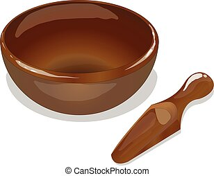 wooden bowl and scoop vector isolated