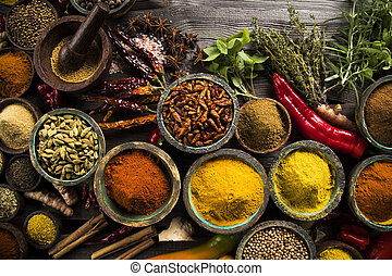 Wooden bowl, Hot spices - Hot spices in wooden bowls