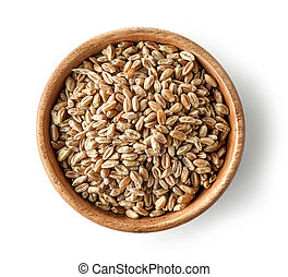 wooden bowl of wheat grains