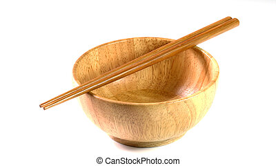 wooden bowl on white background