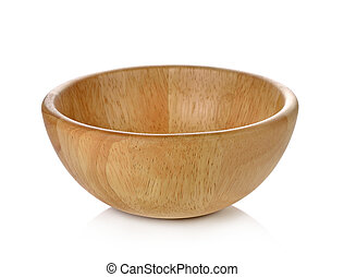 wooden bowl on white background.
