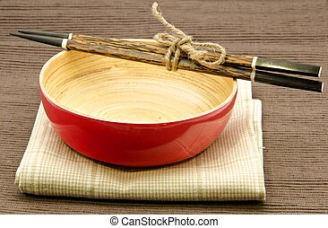 Wooden bowl for serving oriental food