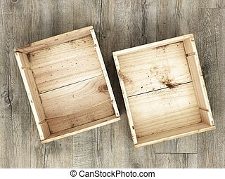 A studio photo of a old wooden box