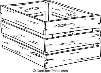 Wooden box cartoon sketch hand drawn doodle
