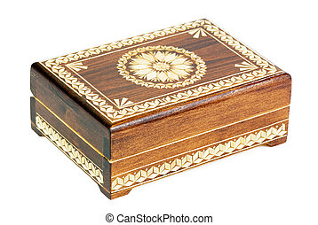 wooden box decorated with an ornament of straw