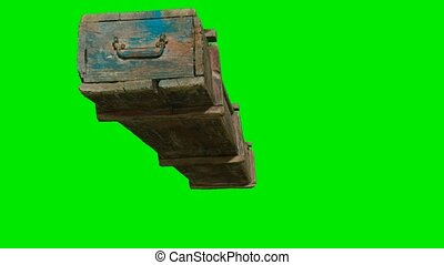 wooden box for weapons on green chromakey background
