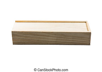 Wooden box for wine on white background