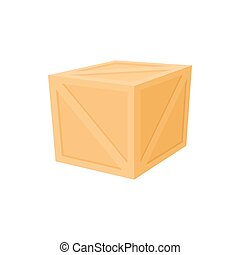 Wooden box icon, cartoon style