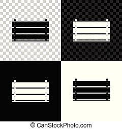 Wooden box icon isolated on black, white and transparent background. Grocery basket, storehouse crate. Empty wooden container for vegetables, products. Vector Illustration