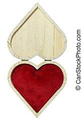 wooden box in shape of heart