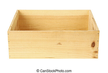 empty wooden box isolated on white background - focus on front panel