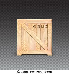 Wooden box isolated, icon.