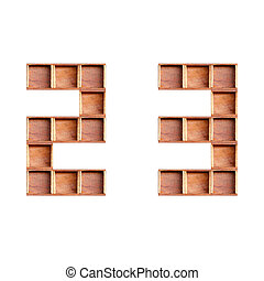 wooden box made of numbers isolated on white background