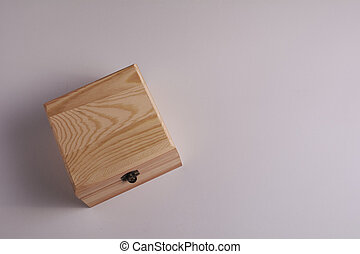 Wooden box on white background, for secrets.