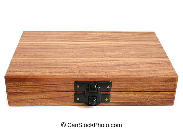 Wooden box on white background