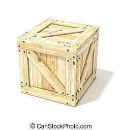 Wooden box. Side view. 3D render