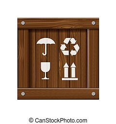 Wooden box. Stock illustration.