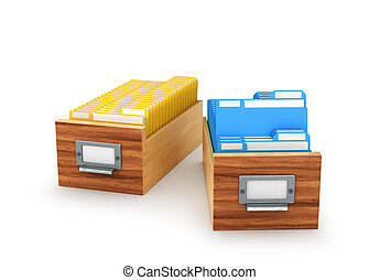 Wooden box with archived files and folders, isolated on white background. 3D illustration
