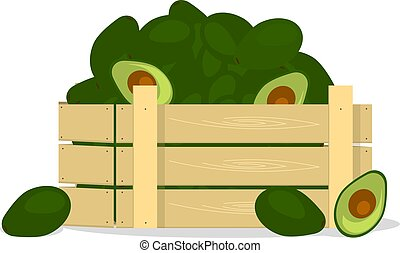 Wooden box with avocados, flat design object.