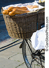 Bicycle With Wooden Box In Front Of A Wall