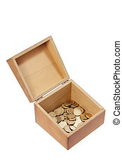Wooden Box with Coins
