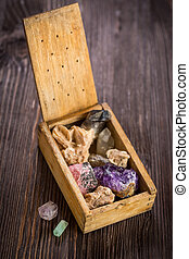 Wooden box with collection of rocks and minerals