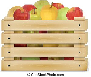 Wooden box with colorful apples