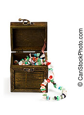 wooden box with fashion beads