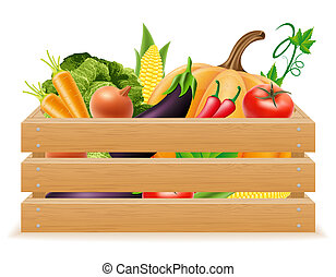 wooden box with fresh and healthy vegetables illustration