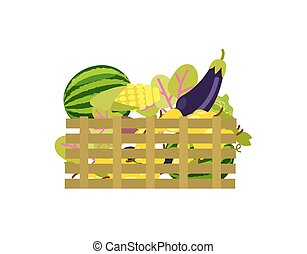 Wooden box with fruits and vegetables icon