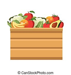 wooden box with fruits design