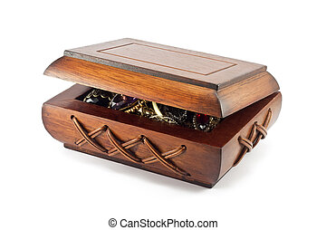 wooden box with jewelry on white background