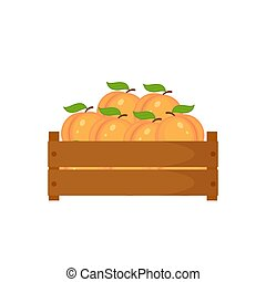 Wooden box with peach vector illustration. Boxwith the fruits