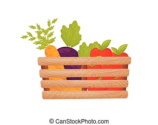 Wooden box with vegetables and fruits. Vector illustration.