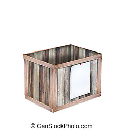 wooden box, Wooden texture background and paper note.