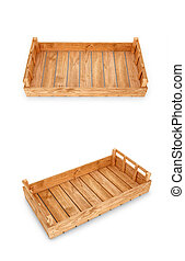 Wooden boxes for goods on a white background. 3D illustration