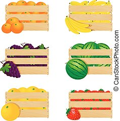 Wooden boxes with fresh fruits