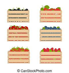 Wooden boxes with fruits collected from the farm.
