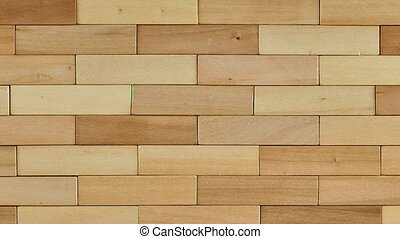 Wooden bricks break the folded wall. Stop movement, green...