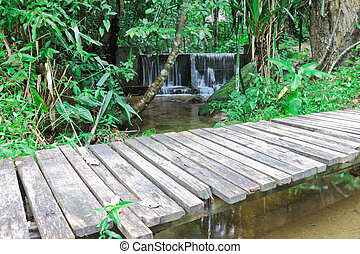 Wooden bridge across the stream