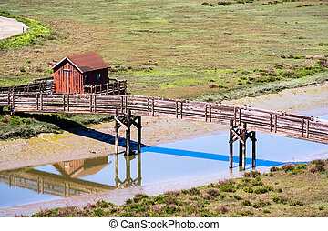 Wooden Bridge and Picnic Shelter, Don Edwards wildlife refuge, Fremont, East San Francisco bay area, California