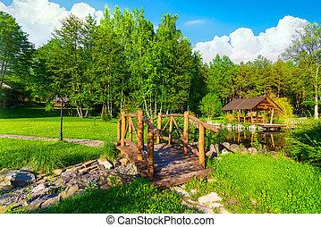 Wooden bridge at day