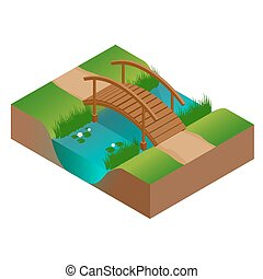 Wooden bridge at the river. Flat 3d vector isometric illustration.
