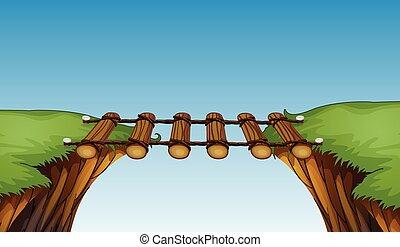 Wooden bridge between cliffs illustration