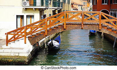 Old wooden sluice bridge in thun old town. thun is a city in swiss canton of bern, where aare ...