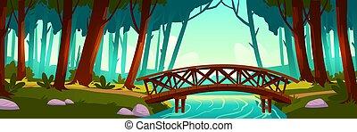 Wooden bridge crossing river in forest