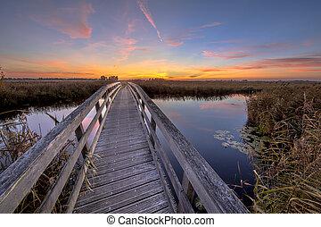 Wooden bridge for bicycles