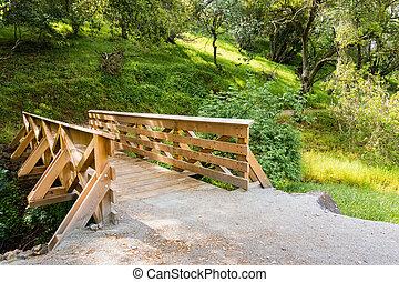 Wooden bridge going over a creek in Calero County Park, San Jose, Santa Clara county, California